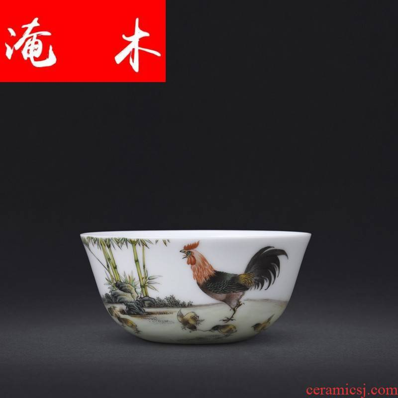 Flooded pure hand - made wooden jingdezhen ceramics powder enamel cup chicken cylinder sample tea cup kung fu tea tea masters cup