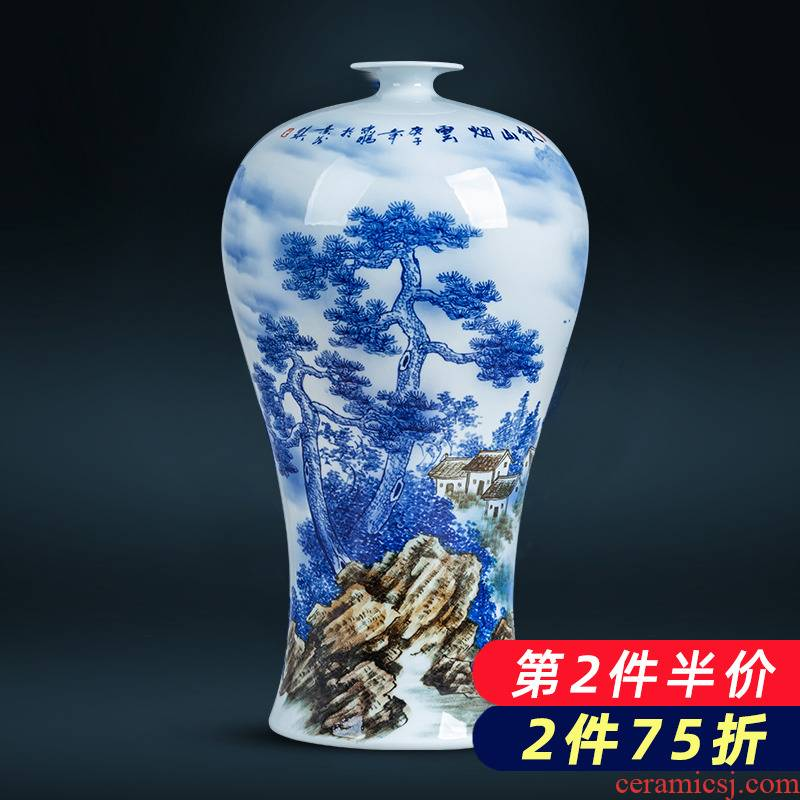 Jingdezhen ceramics painting large name plum bottle blue and white porcelain vase painting flower arranging place, Chinese style household ornaments