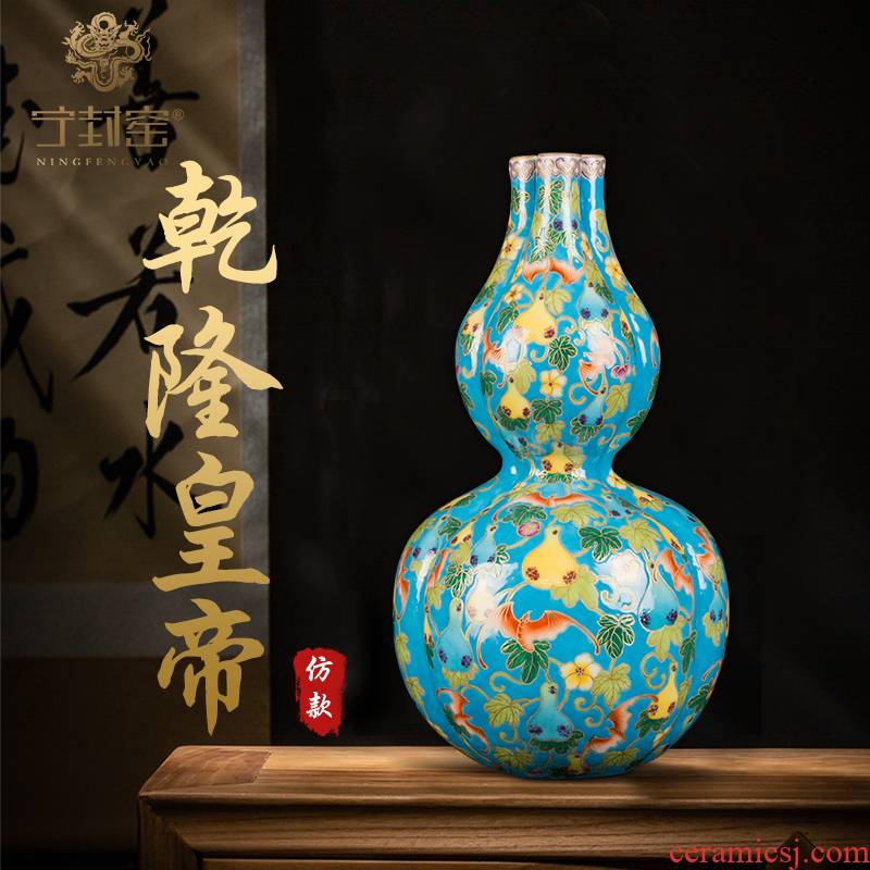 Better sealed up with jingdezhen ceramic vase furnishing articles sitting room hand - made descendants of Chinese antique ten thousand new generation three tube bottle gourd