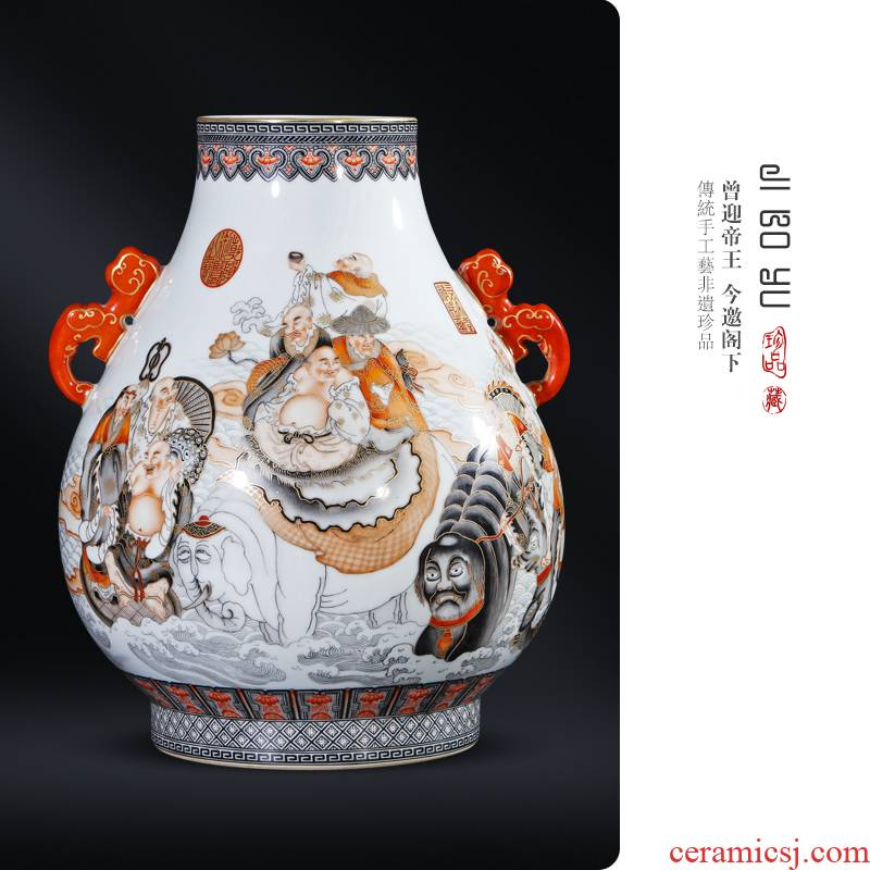 Jingdezhen ceramic the qing qianlong hand - made color ink paint 18 Luo Hanfu tube of Chinese style living room porch decorate furnishing articles
