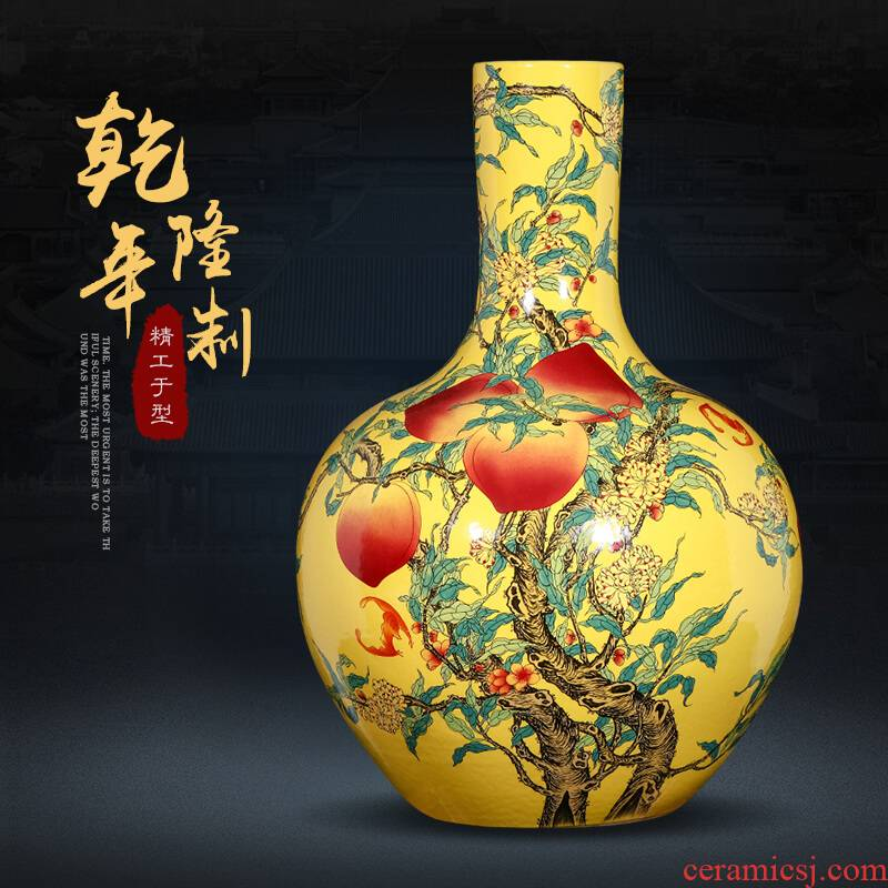 Jingdezhen ceramics powder enamel nine peach figure vases, flower arranging large home furnishing articles of Chinese style of the sitting room porch decoration