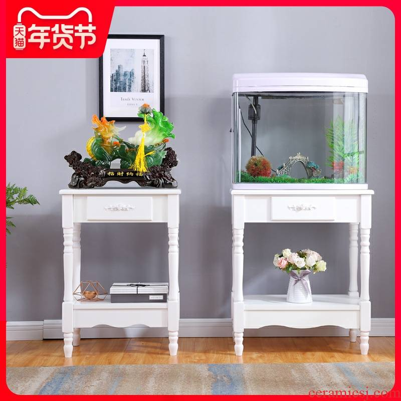 The sitting room is a rectangle household buy object European - style flower wearing white table fish tank frame simple multi - layer composite furnishing articles base