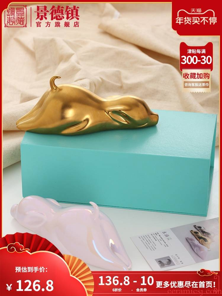 Jingdezhen flagship store ceramic little golden pig furnishing articles household act the role ofing is tasted creative I and contracted sitting room desktop decoration
