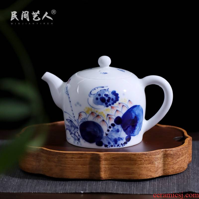 Harmony is the little teapot kung fu tea tea ware jingdezhen blue and white porcelain ceramic hand - made household small pot