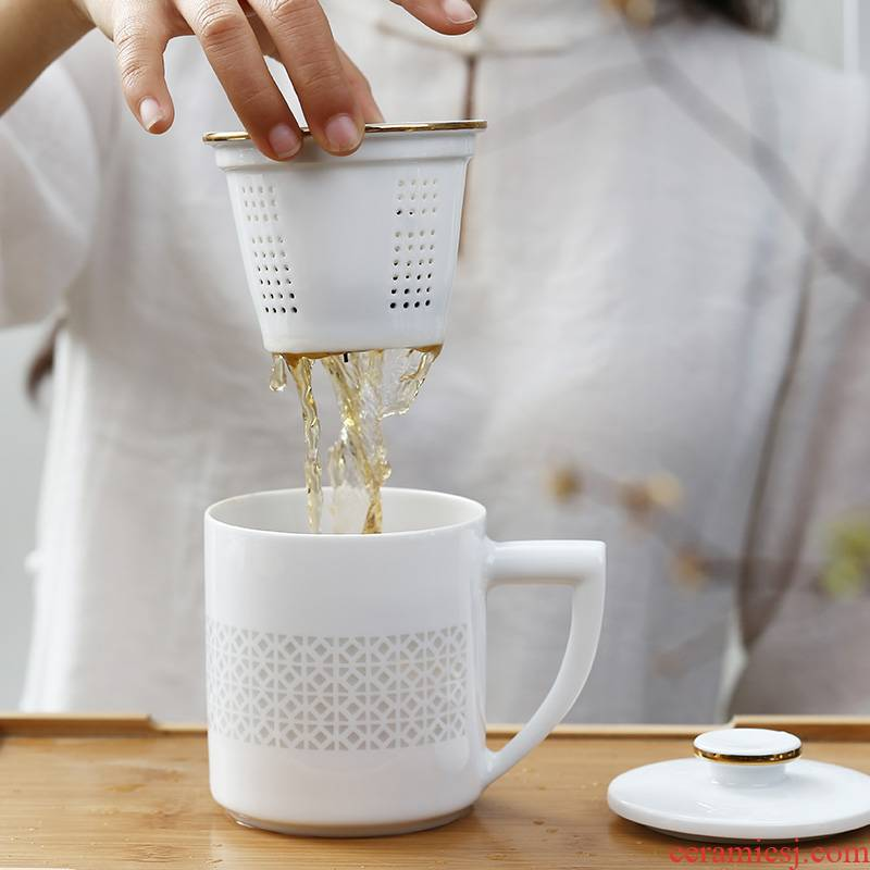 Jingdezhen separation and exquisite ceramic tea cup tea cups with cover filter cup tea home office cup gift