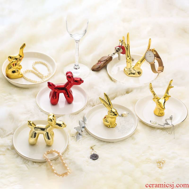 Nordic ceramic jewelry plate dresser necklace earrings ring is small adorn article receive plate film props bedroom furnishing articles