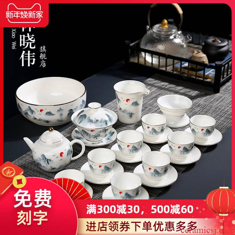 White porcelain painting landscape tea set home a whole set of kung fu tea set contracted and I ceramic tureen ultimately responds tea pot
