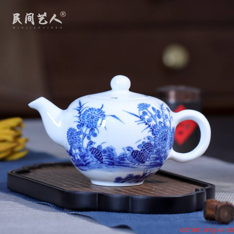 Ceramic hand - made An happily in the teapot kung fu tea accessories little teapot jingdezhen blue and white porcelain teapot