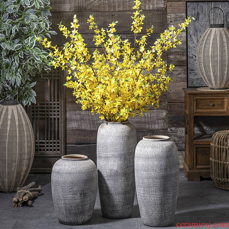 Contracted and I ceramic dried flowers, restoring ancient ways of large vases, jingdezhen pottery decorative furnishing articles sitting room flower pot