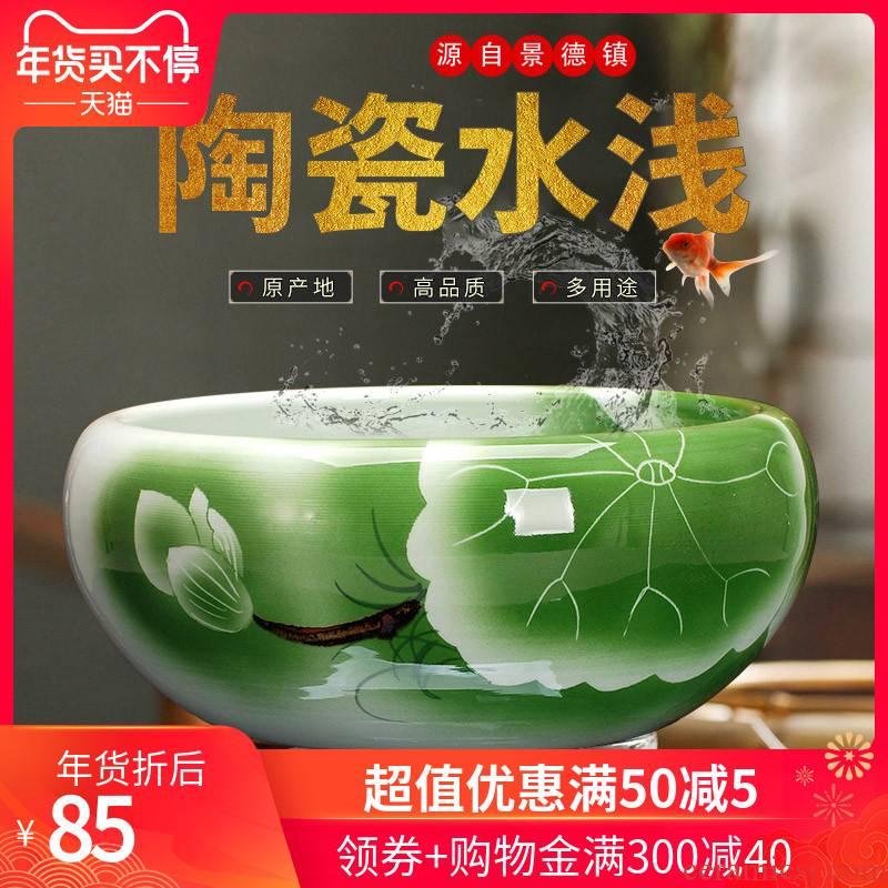 406 jingdezhen blue and white porcelain ceramic goldfish tank sitting room adornment is placed brocade carp cylinder lotus basin
