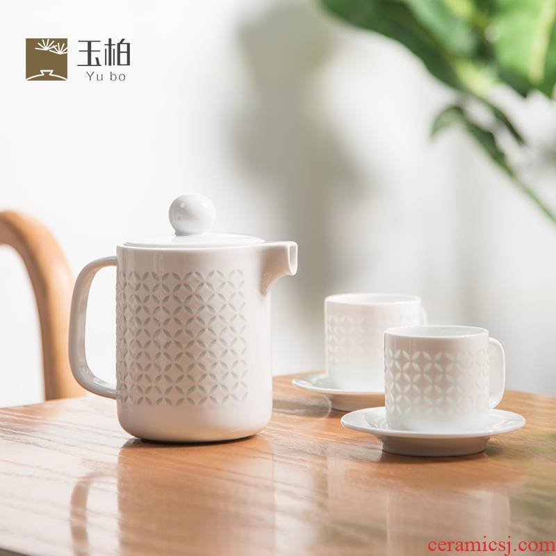 Jingdezhen BaiLingLong a pot of two cups of white jade garden balcony pure copper lines three - piece tea set