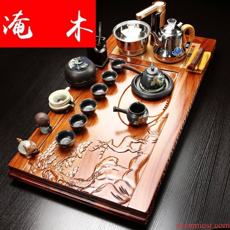 Submerged wood block hua limu tea tray is contracted and I household tea purple ceramic kung fu tea set induction cooker