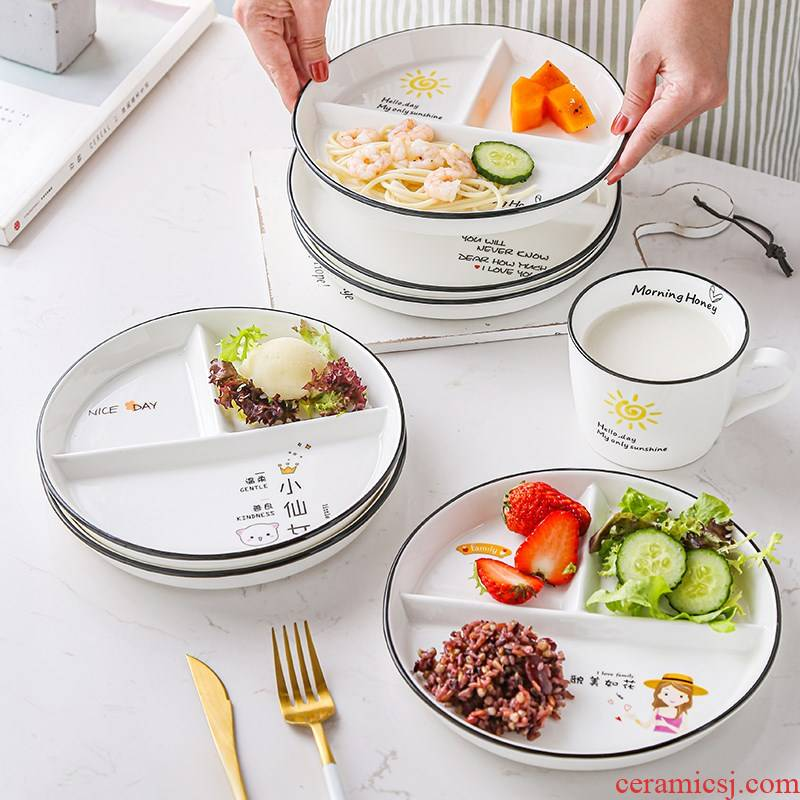 One frame reduced fat dish food household ceramic tableware children lose weight policy breakfast dishes three separate plate