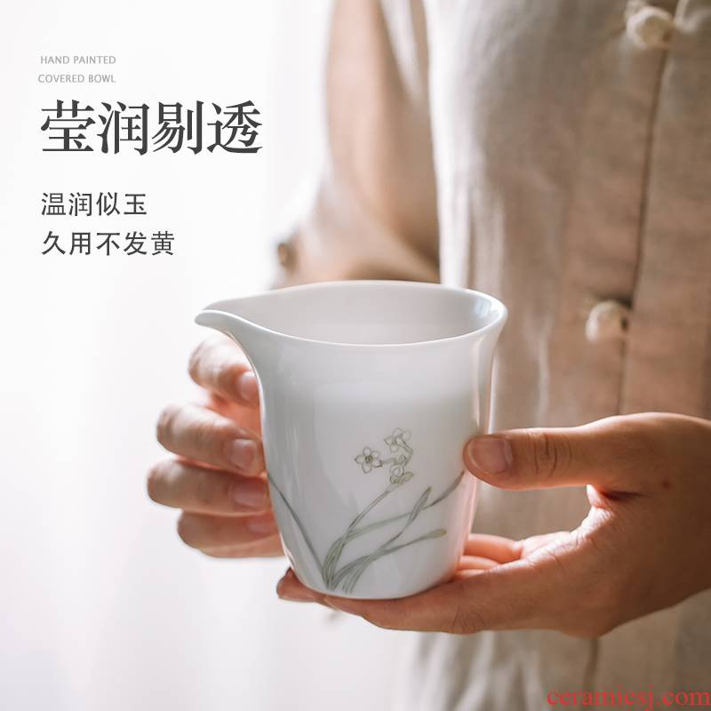 Prevent hot pure hand - made kung fu tea set more heat resistant ceramic points of tea ware fair keller cup pure manual jingdezhen