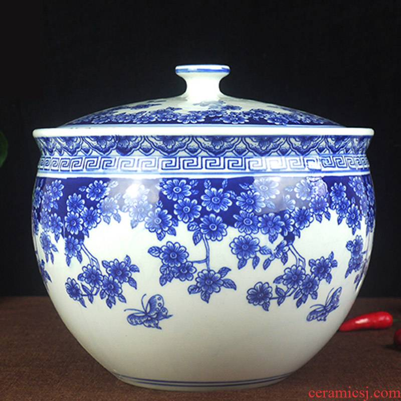 10 jins to jingdezhen ceramic barrel with cover ricer box 5 kg storage tank cylinder pickles pickled Chinese medicine tank