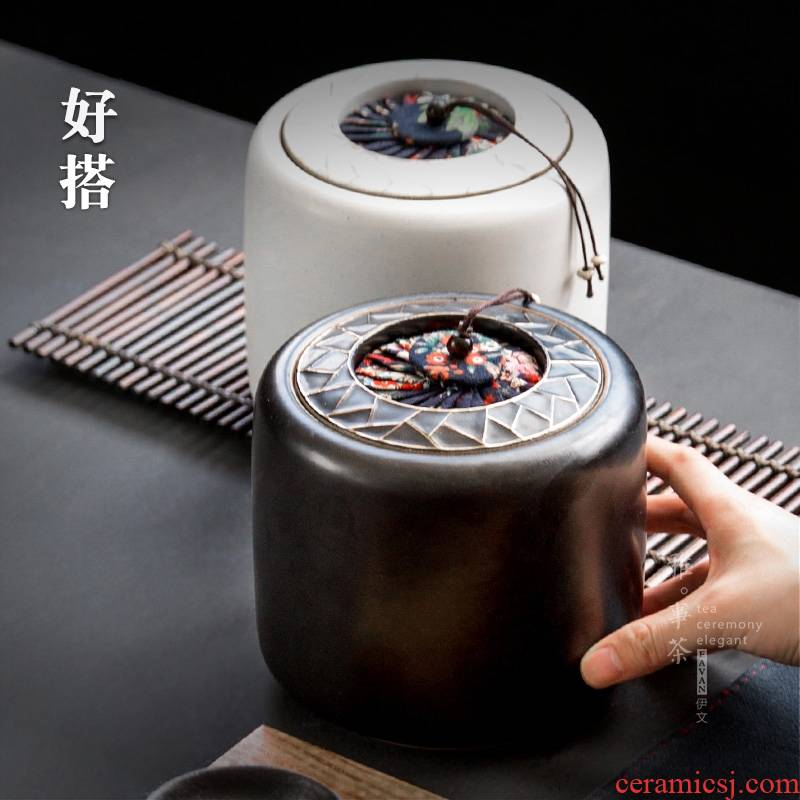 Mu YWT monochrome paper - cut caddy fixings ceramic POTS kung fu tea accessories creative storage sealed as cans of restoring ancient ways