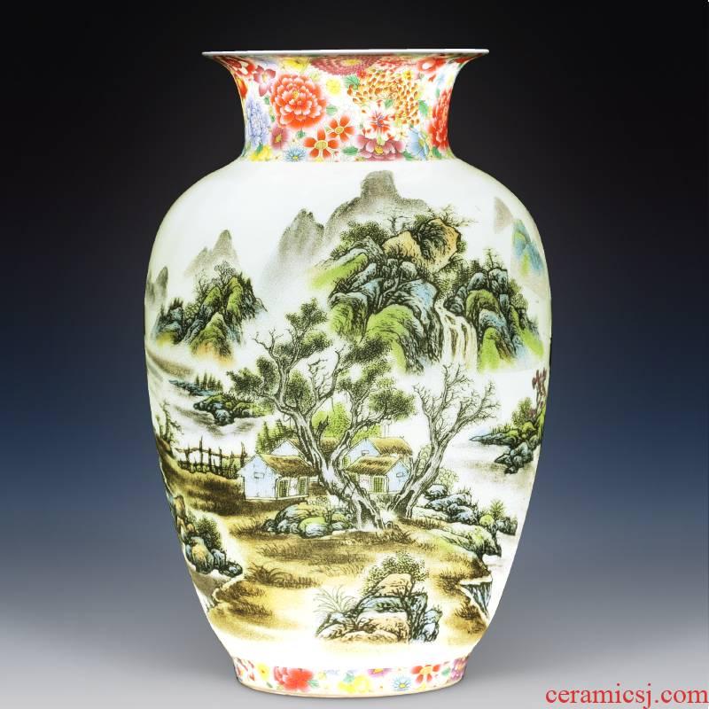 Jingdezhen ceramic vase furnishing articles sitting room flower arranging antique porcelain of new Chinese style household adornment large TV ark
