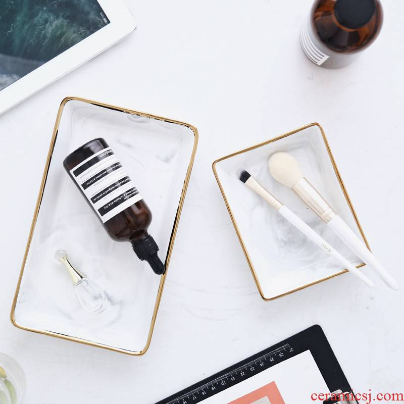 Nordic ins ceramic jewelry set marble paint edge receive dish posed props bathroom dresser tray