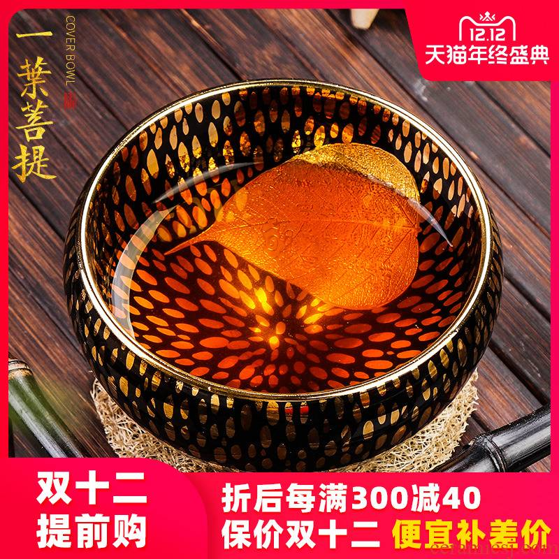 Artisan fairy jianyang built one pure manual fine gold konoha light household ceramics kung fu tea tea master cup single CPU