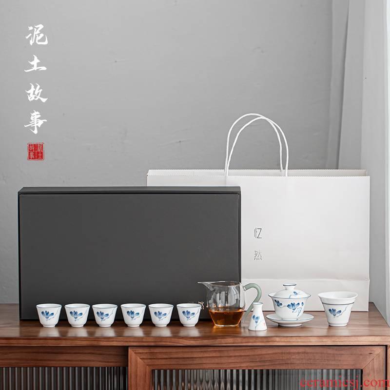Thin foetus tureen kung fu tea sets tea cups porcelain white porcelain of a complete set of demand flower porcelain tureen tea gift box packaging