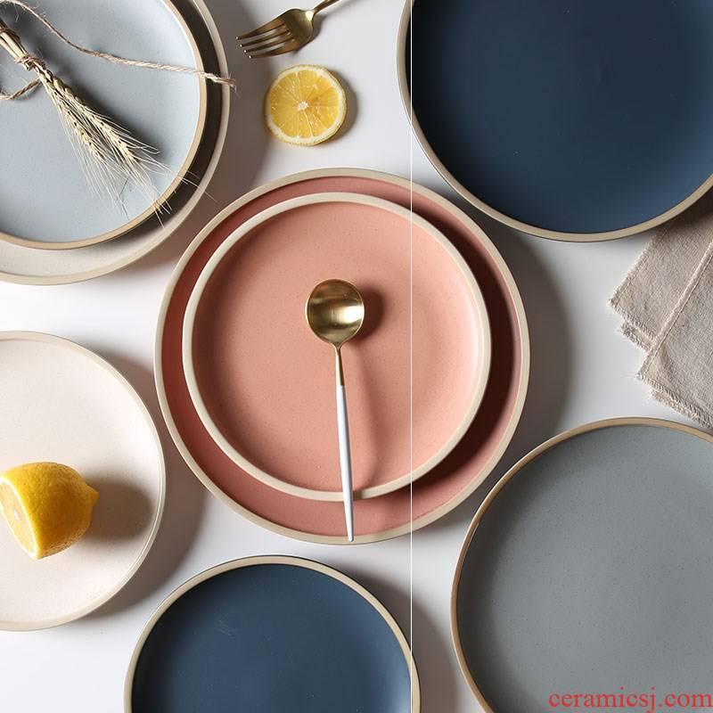 The Home plate plate disc beefsteak web celebrity porcelain ins Nordic ceramic tableware, Japanese matte enrolled breakfast tray