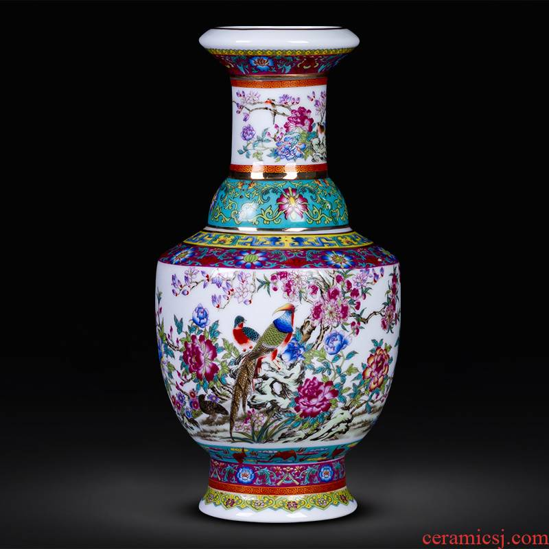 Jingdezhen ceramic antique colored enamel floret bottle of flower arranging furnishing articles furnishing articles rich ancient frame the sitting room of Chinese style household decoration