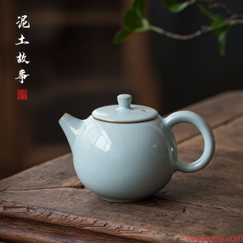 Hand your up teapot was slicing can be a single pot jingdezhen undressed ore ceramic porcelain crack celadon gift boxes