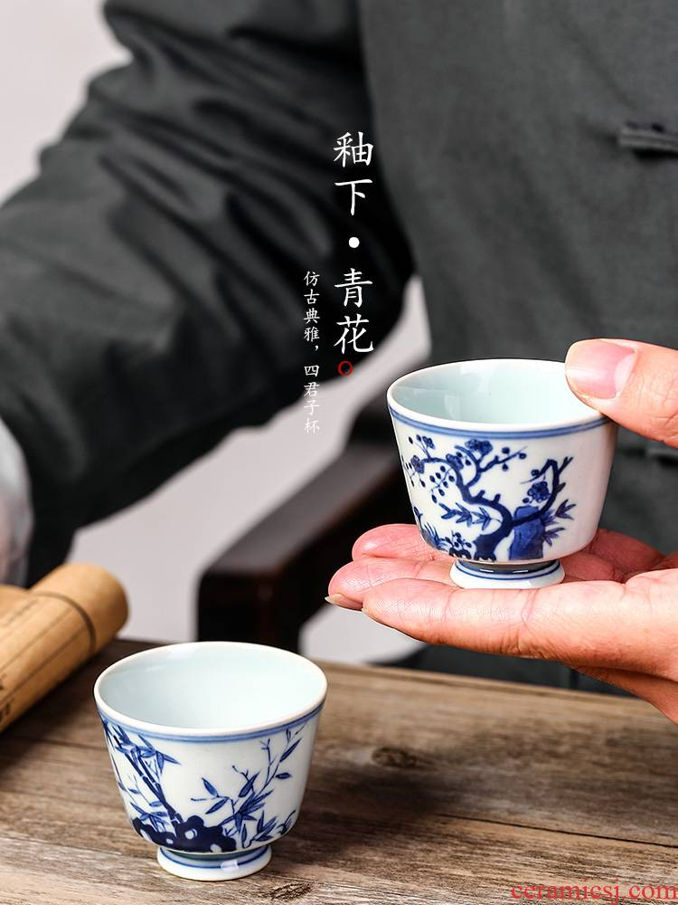 Jingdezhen blue and white master cup by patterns of hand - made sample tea cup archaize kung fu checking tea cups