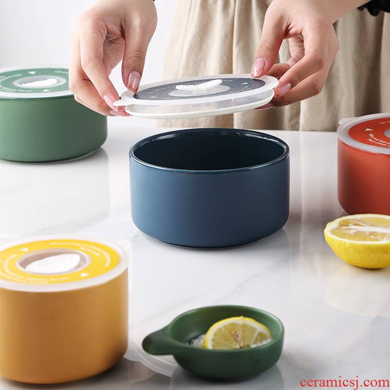 Large fresh flavor dish bowl bento cassette cover ceramic microwave lunchbox preservation box sealed box rainbow such use