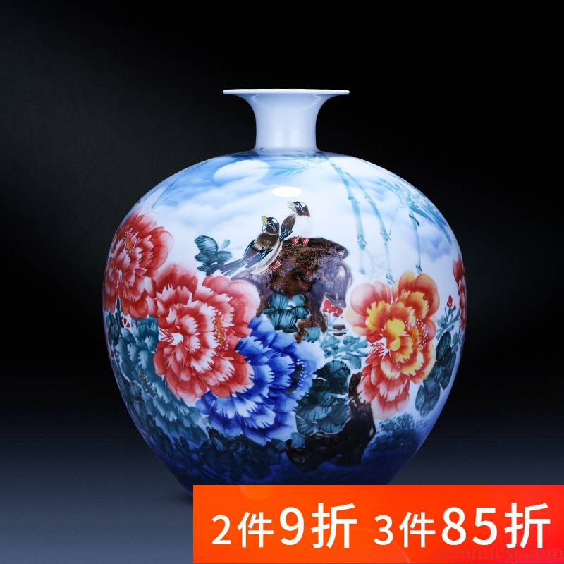 Jingdezhen porcelain ceramic hand - made large pomegranate vases, new Chinese style household living room TV ark adornment furnishing articles