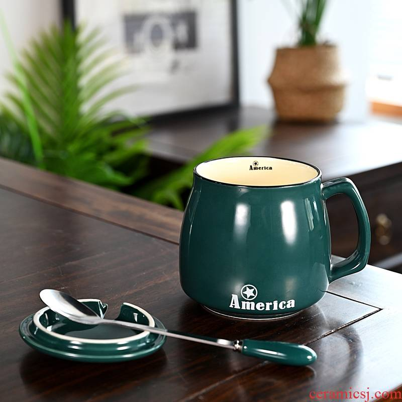 Hui shi couples mark cup with cover spoon creative trend for men and women of household ceramic drinking milk coffee cup individuality