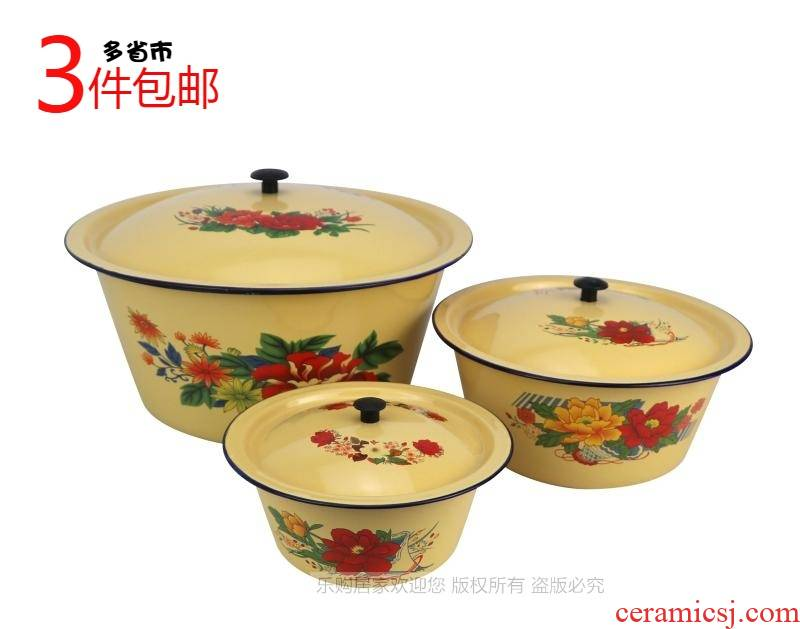Soup bowl with cover ceramic basin little magnetic magnetic capacity thickening enamel basins and old people to use in the kitchen
