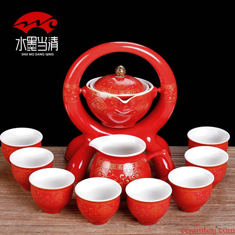 Chinese style restoring ancient ways is semi - automatic kung fu tea set ceramic household living room couch potato modern move contracted tea