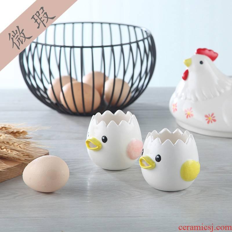 View the best creative cartoon ceramic household egg egg yolk egg white separator separator filter for use