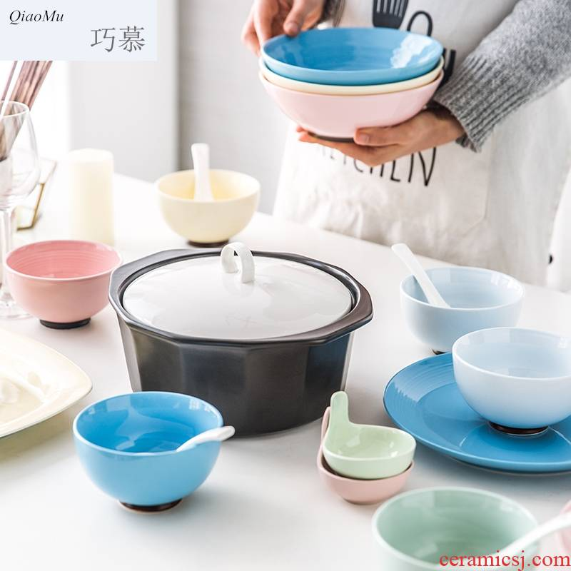 Qiam qiao mu household of Chinese style kitchen ceramic dishes creative contracted new ipads porcelain plate suit a gift