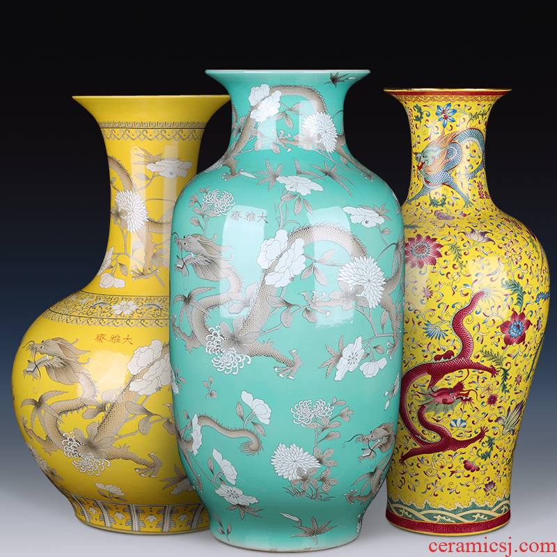 Jingdezhen ceramic antique vase furnishing articles landing large idea gourd bottle of Chinese style household living room TV cabinet decoration