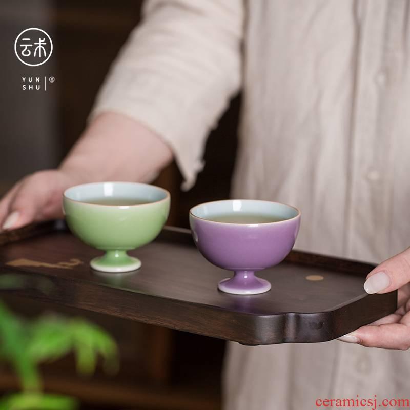 Cloud art of jingdezhen manual temperature ore color glaze sample tea cup cup personal single CPU master cup kung fu tea set
