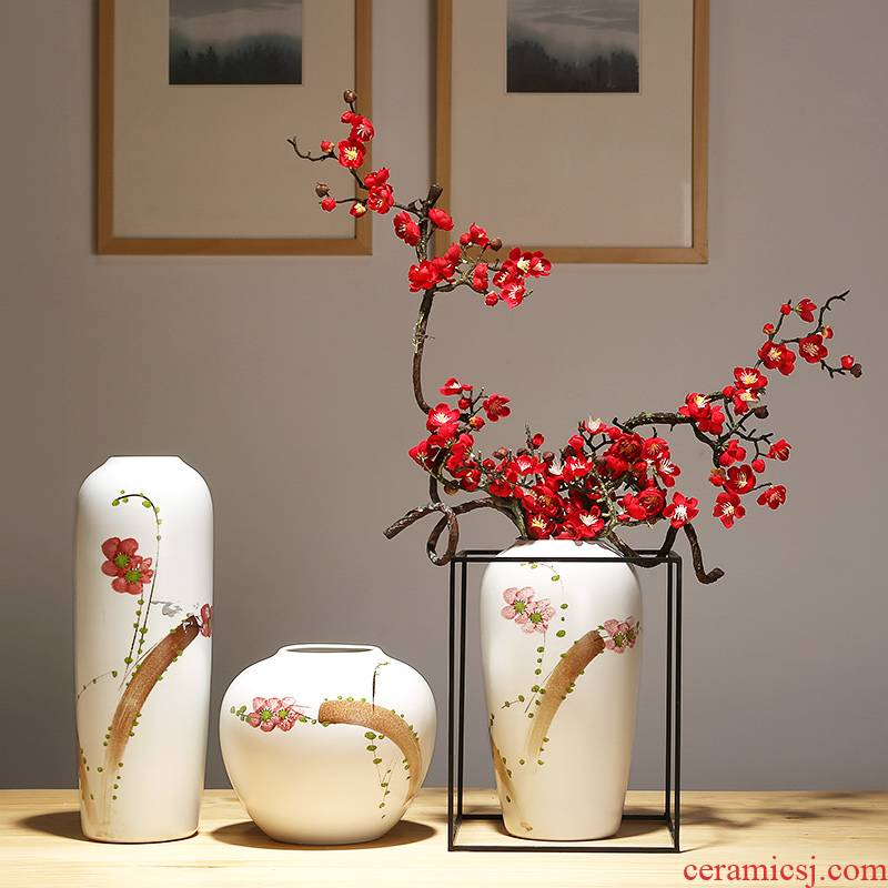 Modern new Chinese vase crafts porcelain contracted sitting room porch mesa vase decoration suit furnishing articles