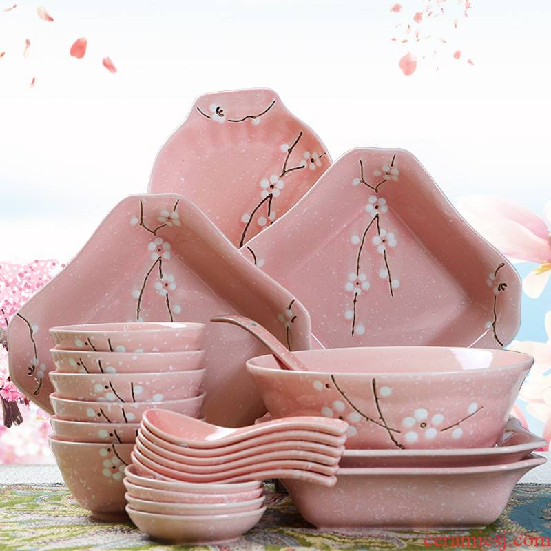 4 6 Dishes suit household Japanese people eat bread and butter plate combination tableware ceramics creative contracted noodles soup bowl