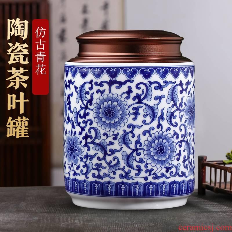 Blue and white porcelain of jingdezhen ceramics tea jar household small pu - erh tea and tea moistureproof prevent wet storage sealed as cans