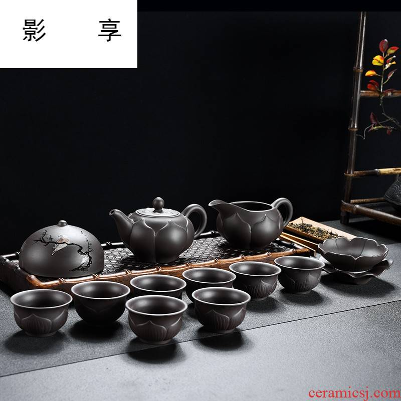 Shadow at the lotus rose violet violet arenaceous mud kung fu tea set teapot GaiWanCha sea the whole household gift box JWG cups