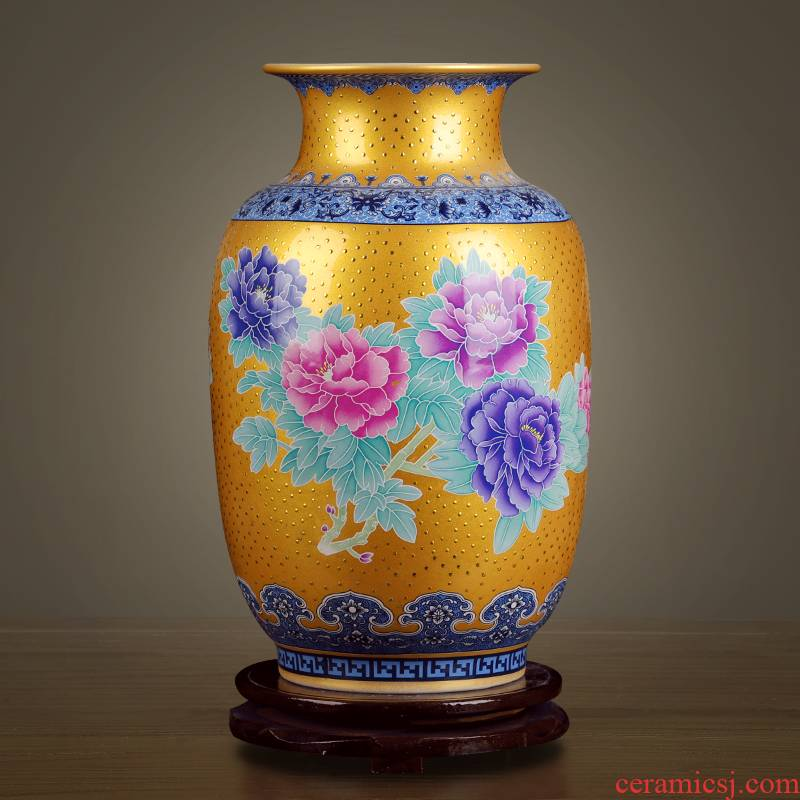 High - grade colored enamel porcelain of jingdezhen ceramics gold auspicious dragon vase modern Chinese style household furnishing articles