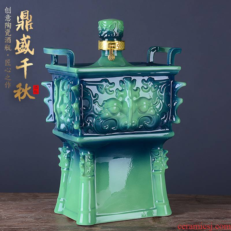 An empty bottle of jingdezhen ceramic household 5 jins of 10 jins to jars with creative wine gift box sealing aged hip flask
