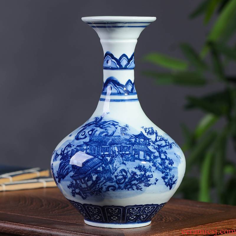 Blue and white porcelain of jingdezhen ceramics floret bottle flower rich ancient frame furnishing articles Chinese vase decoration home decoration