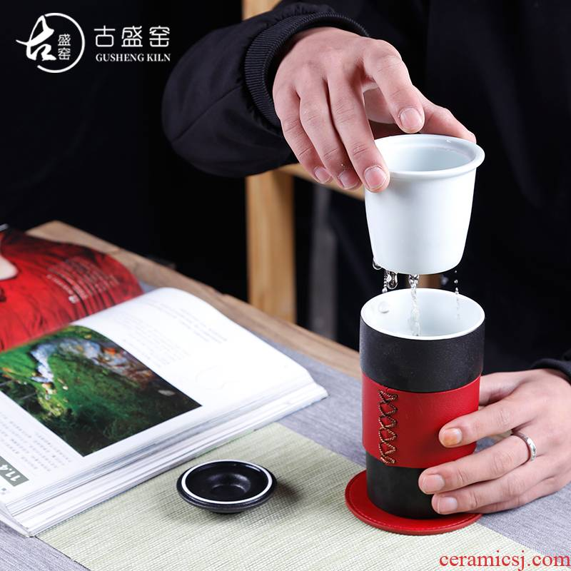 The ancient sheng up line edge enamel - lined keep - a warm glass tea cup men 's and women' s imperial palace large portable cup cup gift