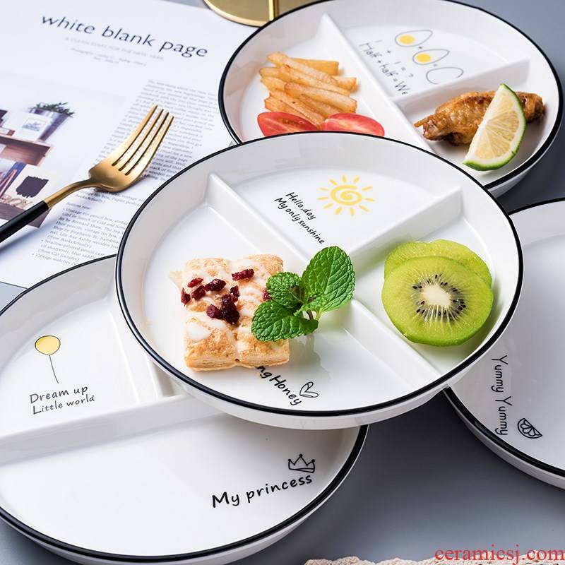 Ceramic frame plates reduced fat one creative food tableware suit household adult breakfast dishes three separate plate
