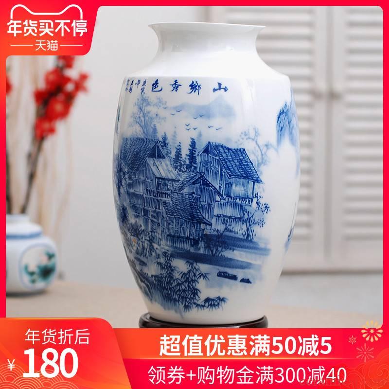 150 jingdezhen ceramic checking painting landscape of blue and white porcelain vase I household adornment flower arranging furnishing articles