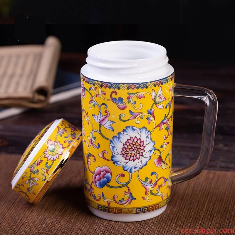 Poly real view jingdezhen porcelain enamel double CPU color tea tea cup single office work cups of restoring ancient ways