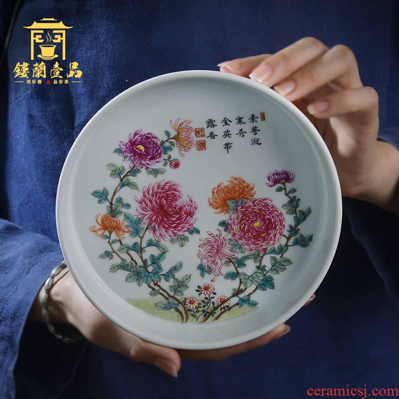 Jingdezhen ceramic kung fu tea pot bearing tea tray hand - made pastel CongJu figure all hand dry terms plate cup saucer