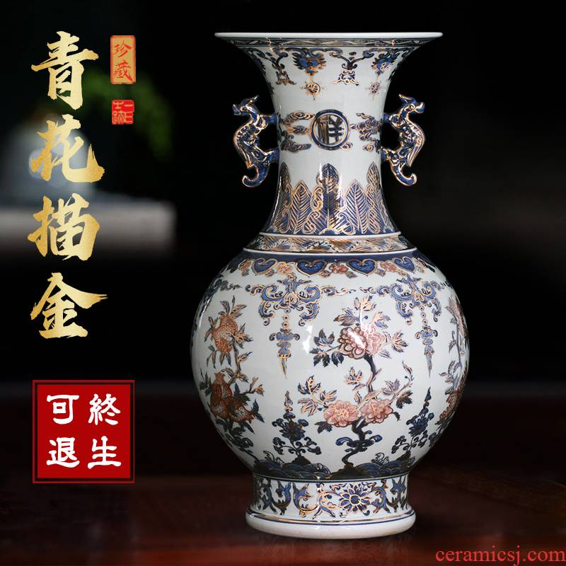 Large blue and white porcelain of jingdezhen ceramics vase furnishing articles of Chinese style household living room TV cabinet decorative arts and crafts